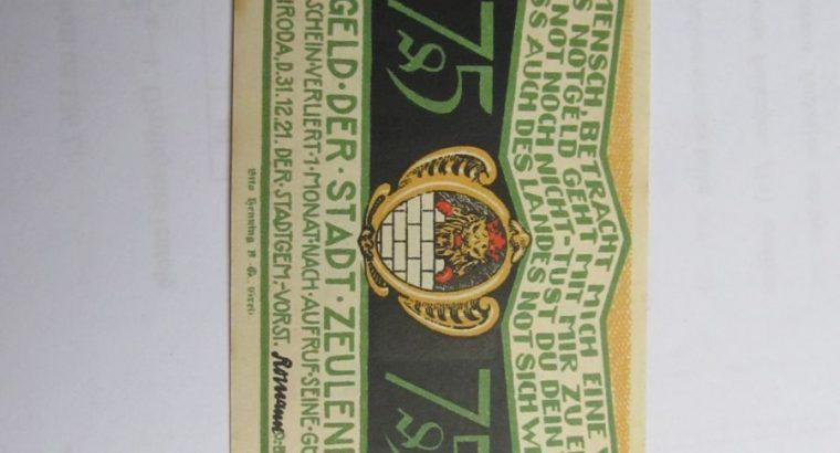 Notgeldas 75 pfennig , Zeulenroda Vokietija ,1921