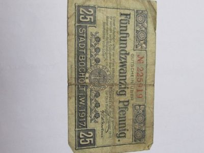 Notgeldas 25 pfennig , Bocholtas Vokietija , 1918