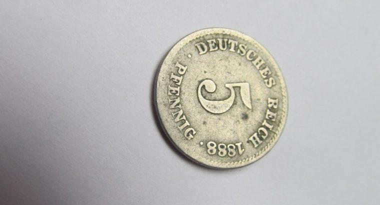 5 pfennig , Vokietija , 1888