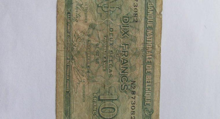 10 francs , Belgija , 1943
