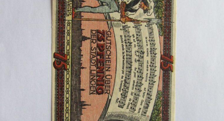 Notgeldas 75 pfennig , Lingen Vokietija ,1921