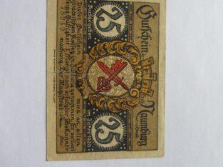 Notgeldas 25 pfennig , Naumburg Vokietija , 1920