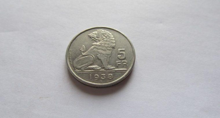 5 frankai , Belgija , 1938