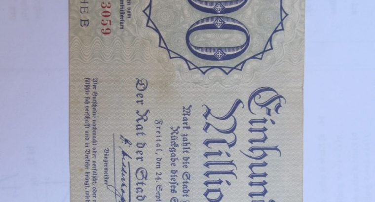 100 milijonu markiu , Freital Vokietija , 1923