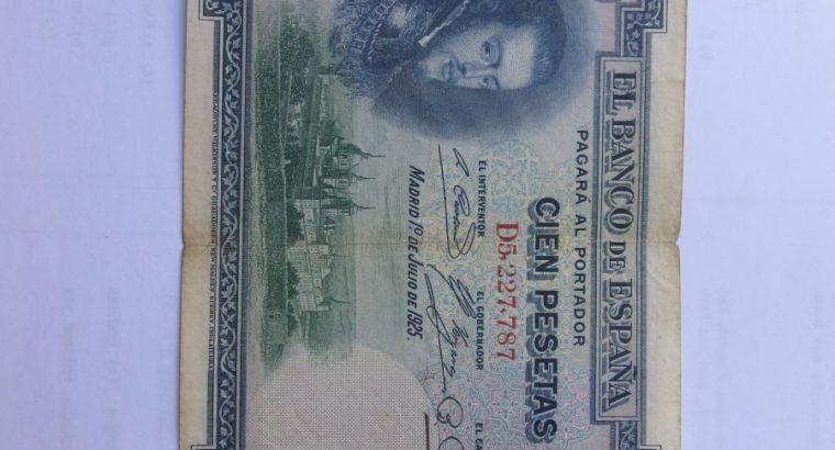 100 pesetas , Ispanija , 1925