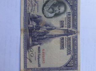 100 pesetas , Ispanija , 1928