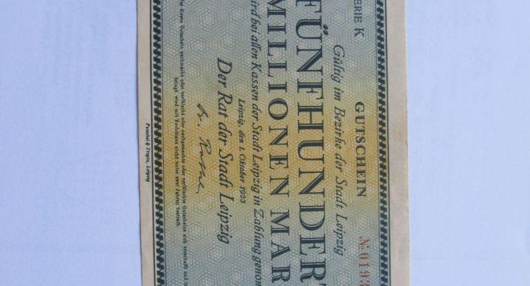 500 milijonu markiu , Leipcigas Vokietija , 1923
