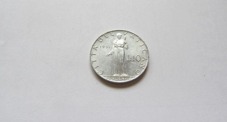 10 liru , Vatikanas , 1951