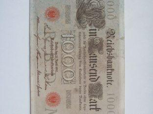 1000 mark , Vokietija , 1910 raudonas štampas .