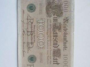1000 mark , Vokietija , 1910 žalias štampas