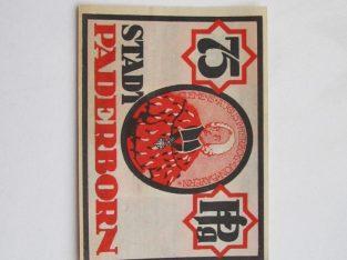 Notgeldas 75 pfennig , Paderborn Vokietija ,1921 .