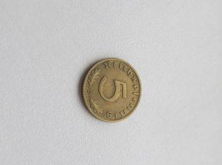 5 reichspfennig , Vokietija , 1938 D