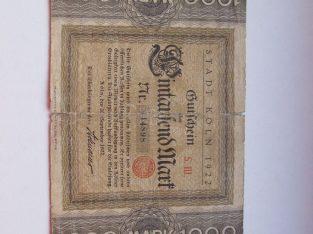 1000 mark , Kelnas Vokietija , 1922