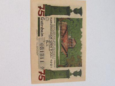 Notgeldas 75 pfennig , Harzgerode Vokietija ,1921