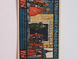 Notgeldas 75 pfennig , Goch Vokietija ,1922 -1