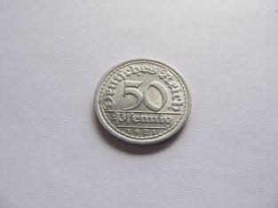 50 pfennig , Vokietija , 1921 J .