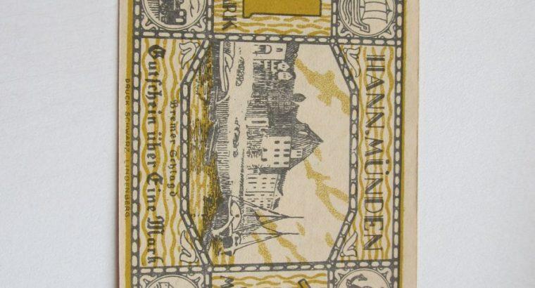 Notgeldas 1 mark , Hann Munden Vokietija , 1922