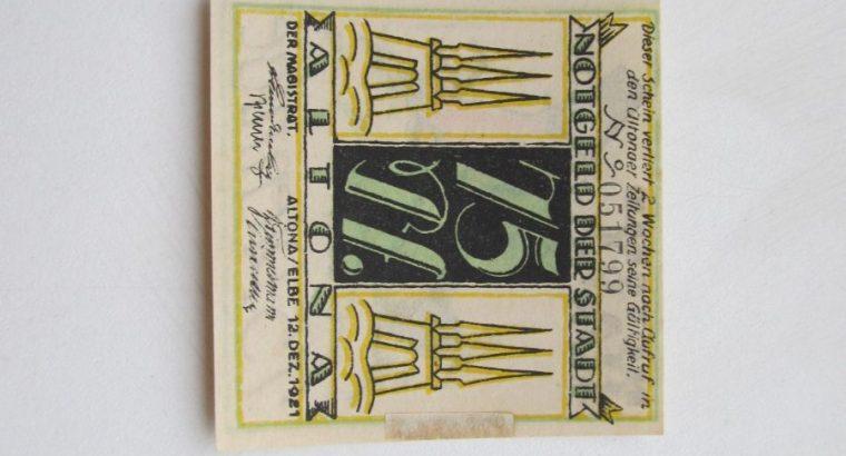 Notgeldas 75 pfennig , Altona Vokietija ,1921