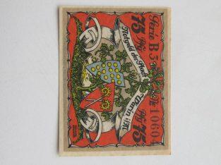 Notgeldas 75 pfennig , Warin Vokietija ,1922