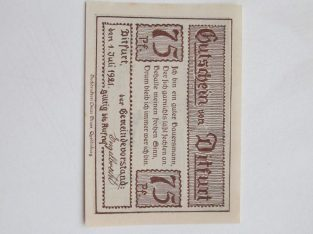 Notgeldas 75 pfennig , Ditfurt Vokietija ,1921