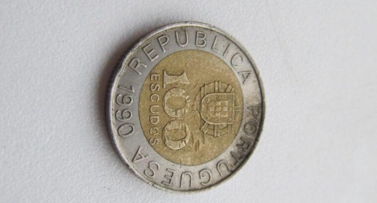 100 escudos , Portugalija , 1990