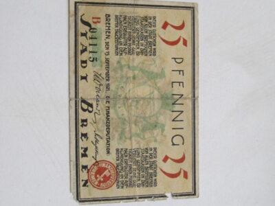 Notgeldas 25 pfennig , Bremen Vokietija , 1921