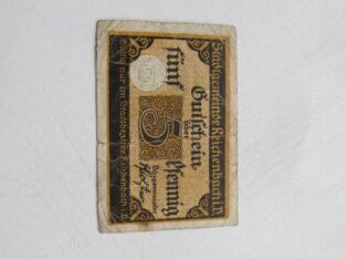 Notgeldas 5 pfennig , Reichenbach Vokietija