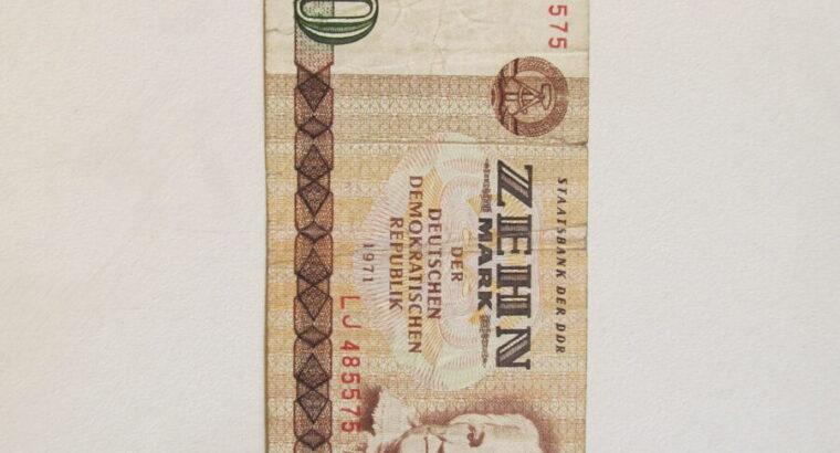 10 mark , Demokratinė Vokietija , 1971