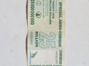 25 bilijonai doleriu , Zimbabvė , 2008
