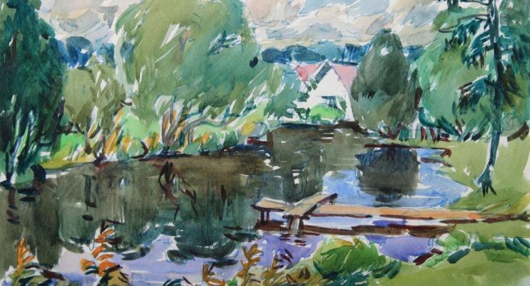 """Algirdas LUKŠTAS (1921-1992). Diptikas """"Ratnyčia"""" upė Ratnyčėlė' ir """"Prie Ratnyčios liepto"""", 1985."""