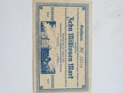 10 milijonu markiu , Chemnitz Vokietija , 1923