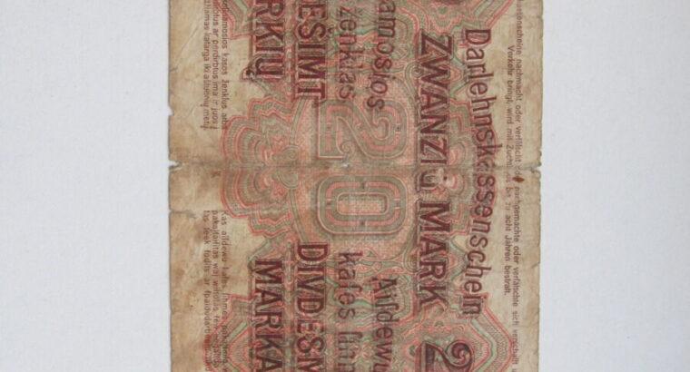 20 ostmark , Lietuva , 1918